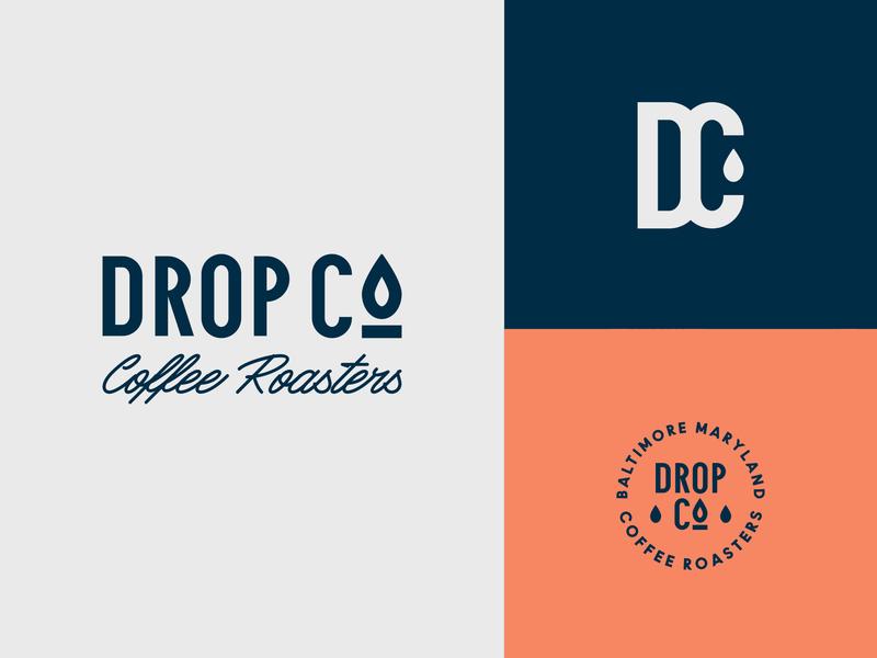 Drop Co. Coffee Roaster Logo Development stamp emblem coffee shop pattern logotype branding logo roaster roastery coffee drop co drop