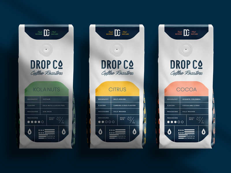 Coffee Packaging design for Drop Co. Coffee Roaster branding label coffee packaging coffee roaster drop packaging coffee shop roaster coffee