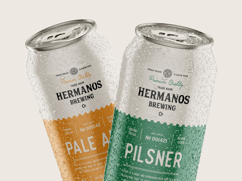 Packaging Design for Hermanos Brewing Co. drink pilsner pale ale brewery brew beer can packaging emblem logo branding