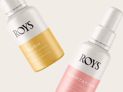 Packaging design for Roys Natural Skincare emblem logo botanical serum packaging branding cosmetics skincare natural roys