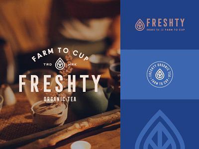 Branding for Freshty Organic Tea natural leaf stamp branding agency cup farm organic tea organic drink tea monogram emblem logotype branding logo