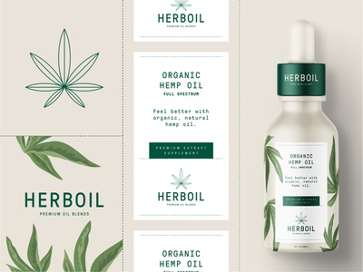Herboil Organic Hemp Oil Branding organic label cannabis emblem logotype logo packaging branding cbdoil cbd hemp herboil herb