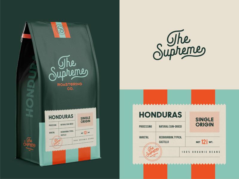 Branding & Packaging for The Supreme badge pattern logomark stamp monogram logo cafe coffee shop label roastery coffee packaging branding