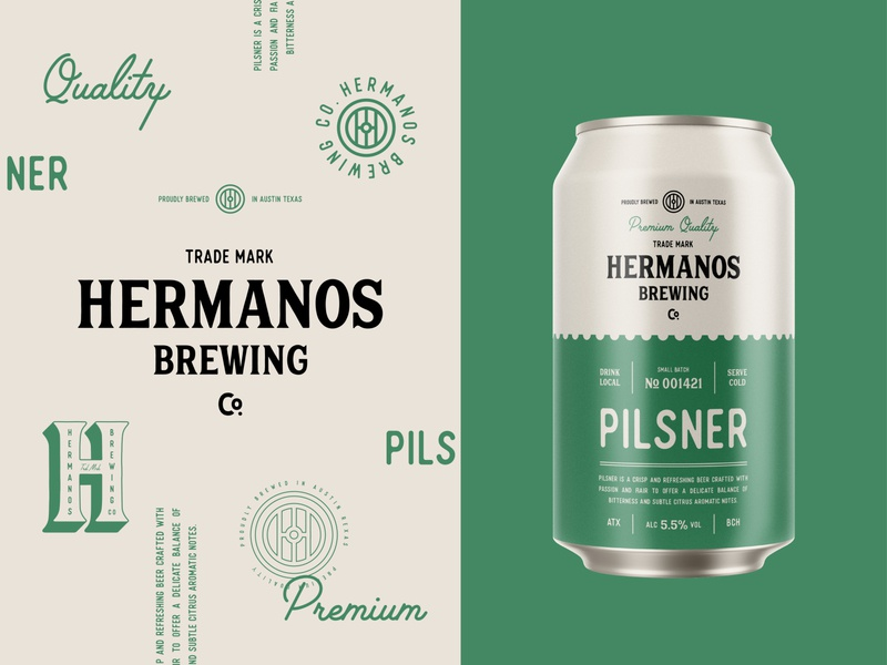 Branding & Packaging Design for Hermanos Brewing Co. badge drink pale ale lager ipa pilsner can brewing beer type logotype monogram stamp packaging emblem logo branding