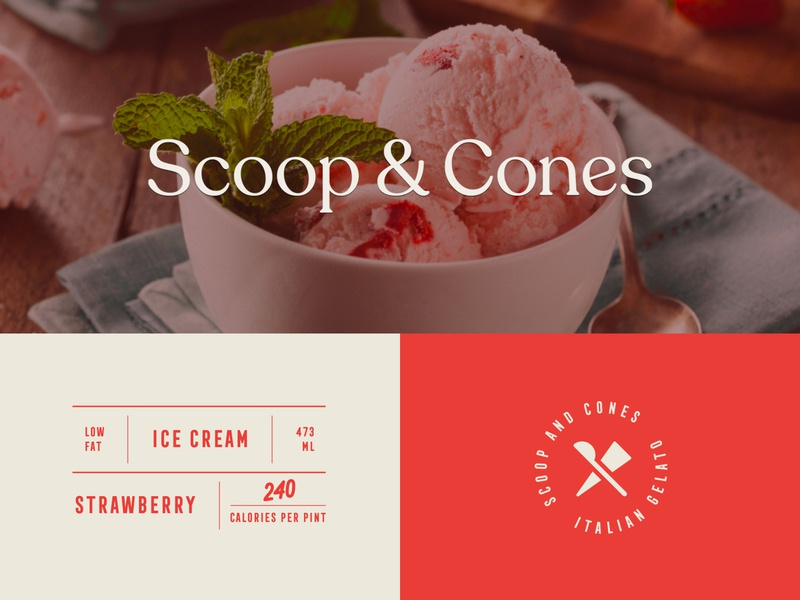 Branding for Scoop & Cones label monogram yoghurt yogurt food creamery ice cream brand identity logo packaging branding