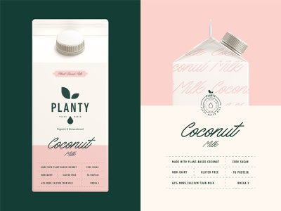 Packaging design for Planty Plant-Based Milk brand identity monogram drink typogaphy stamp emblem logo coconut non-dairy dairy plant planty milk label packaging branding