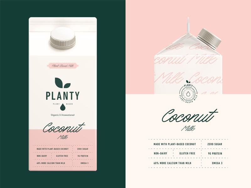 Packaging design for Planty Plant-Based Milk brand identity monogram drink typogaphy stamp emblem logo coconut non-dairy dairy plant planty milk label packaging branding