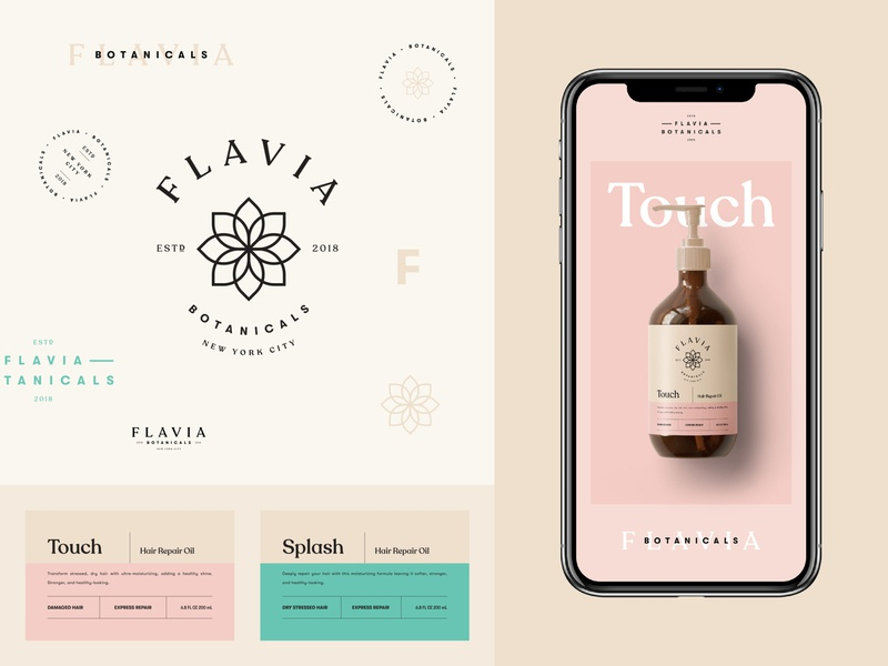 Branding for Flavia Botanicals label design label monogram botanicals haircare cosmetics skincare stamp logotype logo emblem packaging brand identity brand design branding