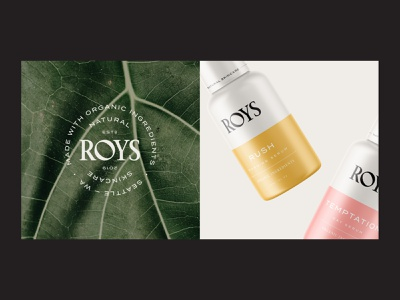 Branding for Roys Natural Skincare organic botanical natural serum stamp monogram emblem logotype logo cosmetic cosmetics skincare label packaging design packaging visual identity label design brand identity branding