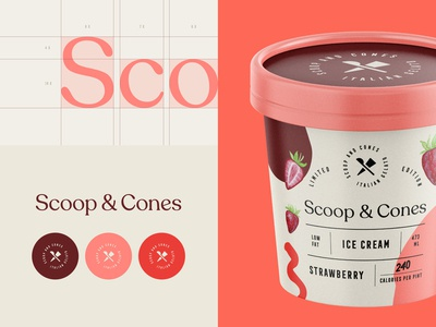 Branding for Scoop & Cones strawberry ice food and beverage food creamery ice cream packaging design packaging monogram emblem logotype logo brand identity branding