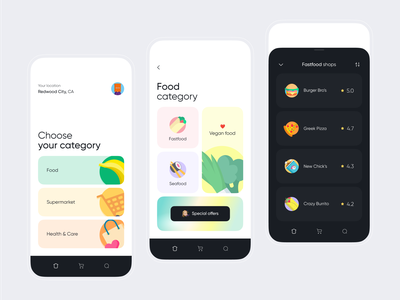 Food delivery app popular uiux cooking eat anoshko whitespace typography illustraion delivery food navigation mobile minimalism minimal layout ux clean ui app design