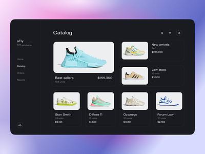 Catalog ecommerce shoes product online store shop inventory catalog typography modern gradient anoshko web minimalism layout ux clean ui app design
