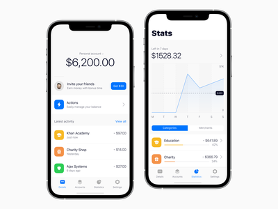 Easy banking product design minimalism mockup native ios fintech finance budget banking mobile anoshko clean ux ui app design