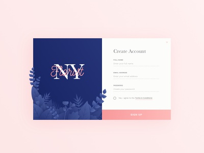 Daily UI #001 - Sign Up illustration form daily ui account sign in sign up flower 001 concept ux web ui