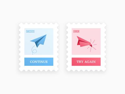 Daily UI #011 - Flash Message airplane ux ui message flash success error illustration stamps 011 dailyui concept web