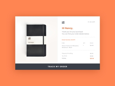 Daily UI #017 - Email Receipt purchase track moleskine product receipt email 017 dailyui concept ux web ui