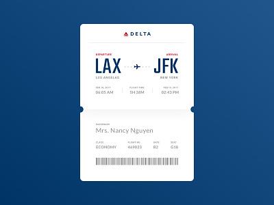 Daily UI #024 - Boarding Pass minimal ticket boarding pass flight airplane delta 024 dailyui concept ux web ui