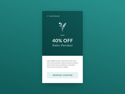 Daily UI #061 - Redeem Coupon floral order purchase discount code redeem coupon 061 dailyui concept ux mobile ui