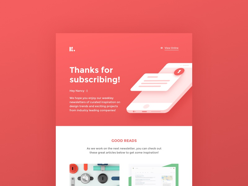 Daily UI #077 - Thank You phone illustration article subscribe newsletter email thank you 077 dailyui concept web ui ux