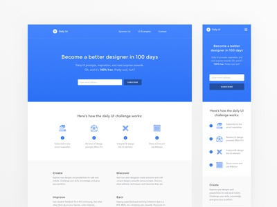 Daily UI #100 - Daily UI Landing Page icon email newsletter subscribe mobile responsive home page landing page 100 dailyui concept web ui ux