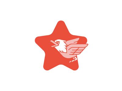 Fierce Lil' Eagle for 4th of July! star bird america july 4th cute animal eagle simple line flat illustration