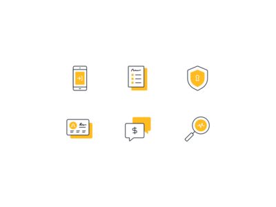 Insurance Icon Set illustration flat line outline simple icon insurance financial shield form mobile search