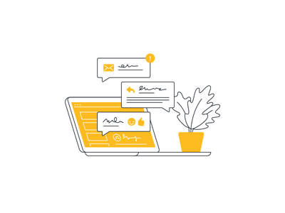 Email Chat Illustration illustration flat line outline simple email chat contact laptop plant customer service