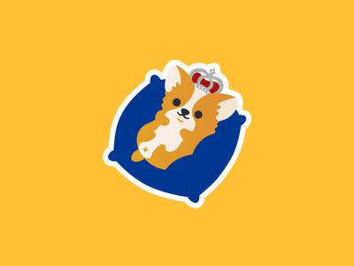 Royal Pupper! sticker crown puppy uk royal british corgi animal cute simple flat illustration