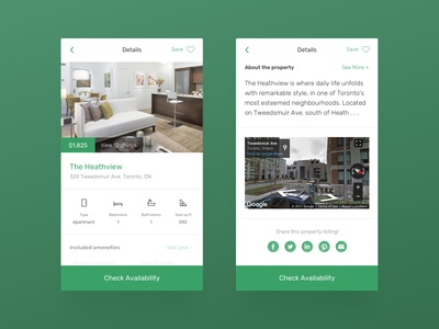 Rental Property Listing - Mobile dailyui social media map home icons listing apartment property rental concept mobile ui ux