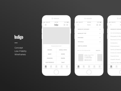 Indigo - Low-Fidelity Wireframes