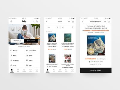 Indigo - Mobile Screens practice concept search menu button shop book hi-fi high fidelity screen mobile ux ui indigo