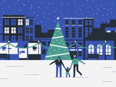 Family Ice Skating family vector snow city night life daughter father minimal ice skating christmas holiday flat simple illustration
