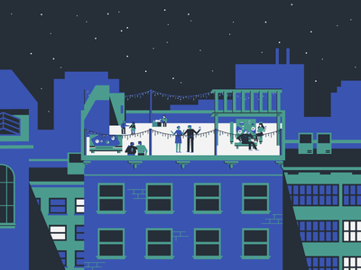 Rooftop Party buildings rooftop scene city characters party holiday christmas new year minimal flat illustration vector