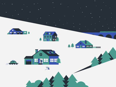 Arriving home arrival trees train snowman car house home family christmas holiday flat simple illustration