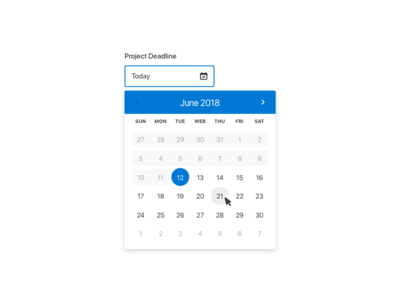 Date Picker active hover disabled icon interface month popup deadline input form field calendar date picker uxui