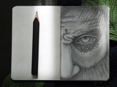 wooden man moleskine sketch wood wooden face man human photography charcoal drawing pencil illustration