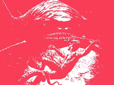 Hunting for Shark adventure coral great white deep sea underwater diving fishing shark pixelated pixel art illustration pixel