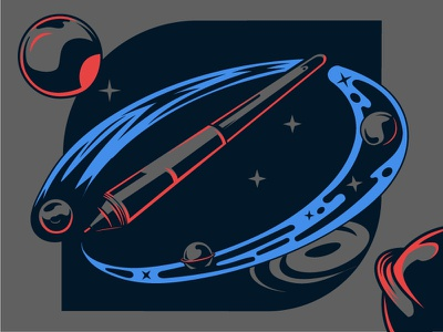GALACTIC PEN space planets pen wacom illustrator system solar galaxy supernova meteor cyclone cosmic