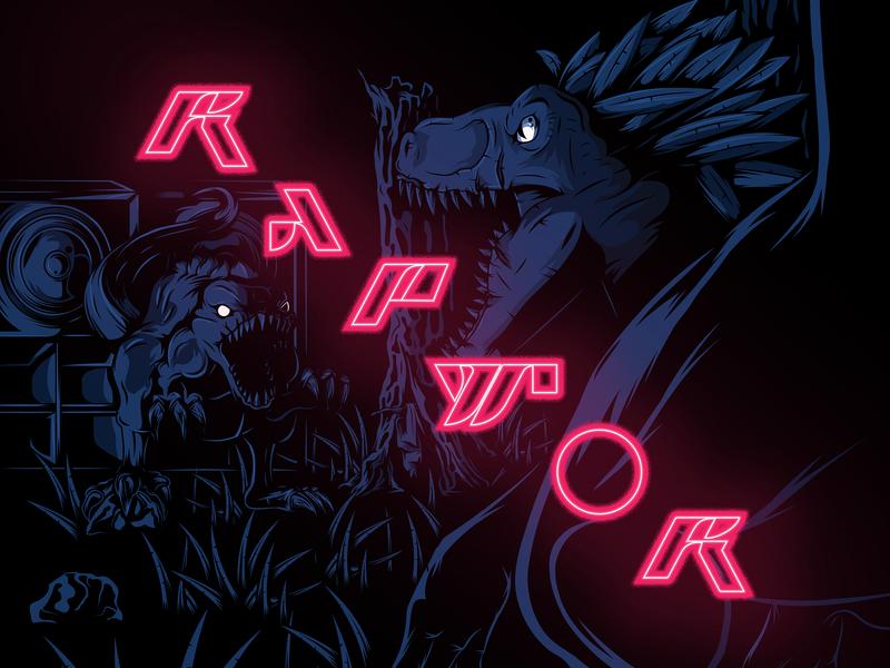RAPTOR type design illustrator vector poster dinosaur raptor artwork art lettering typography illustration