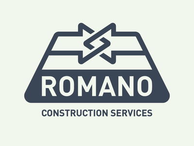 Romano Construction Services administrative services construction process mark logo identity
