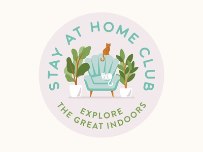 Stay At Home Club Badge icon vector typography lettering illustrator illustration design