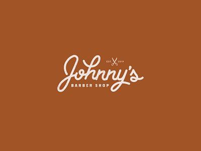 Johnny's Barber Shop dailylogo logotype icon dailylogochallenge vector typography logo lettering illustrator brand identity illustration branding design