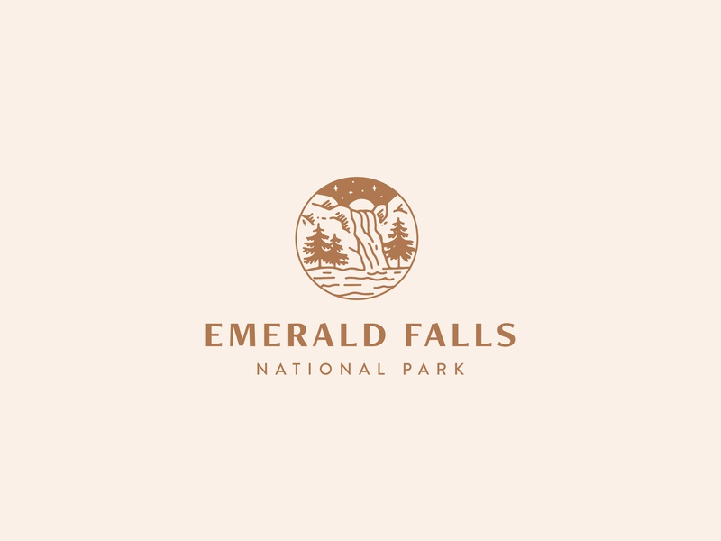 Emerald Falls National Park stars dailylogo icon dailylogochallenge vector typography logo lettering illustrator brand identity illustration branding design