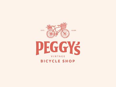 Peggy's Bicycle Shop logotype dailylogo icon dailylogochallenge vector typography logo lettering illustrator brand identity illustration branding design