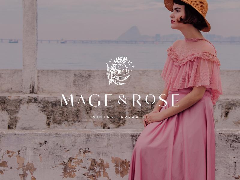 Mage & Rose fashion stars logotype icon vector typography lettering logo illustrator brand identity illustration branding design