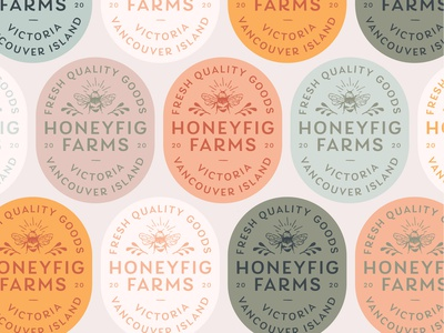 HoneyFig Farms Badge animal art icon vector typography lettering illustrator branding illustration design