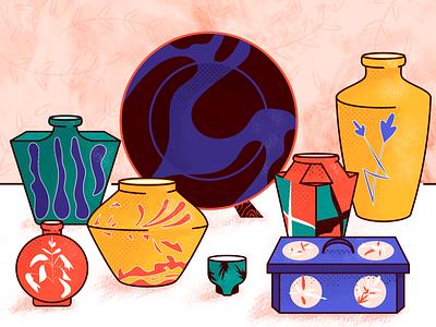 Japanese Pottery casket porcelain japan vase plate pottery flat texture design vector illustration