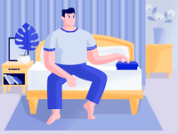 What's in the box? home bedroom bed guy plant flat web character texture design vector illustration