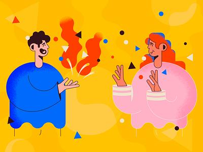 Small Talk web flat character happy design graphic design talk illustration illustrator texture vector girl guy