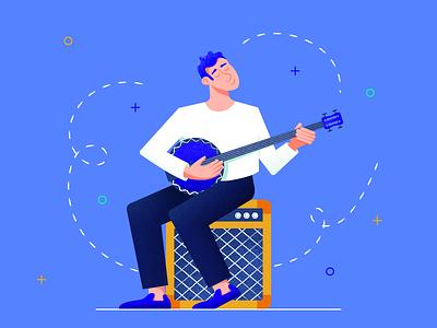 Banjoist web musician banjoist application music app amp banjo flat character texture design vector illustration